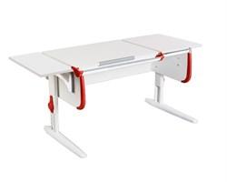 Парта ДЭМИ СУТ-25-01 К WHITE DOUBLE с раздельной столешницей и боковой приставкой (Цвет столешницы:Белый, Цвет боковин:Красный, Цвет ножек стола:Белый) - фото 21679