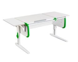Парта ДЭМИ СУТ-25-01 К WHITE DOUBLE с раздельной столешницей и боковой приставкой (Цвет столешницы:Белый, Цвет боковин:Зеленый, Цвет ножек стола:Белый) - фото 21685