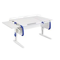 Парта ДЭМИ СУТ-25-02 WHITE DOUBLE с раздельной столешницей, боковой и двумя задними приставками (Цвет столешницы:Белый, Цвет боковин:Синий, Цвет ножек стола:Белый) - фото 21697