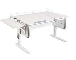 Парта ДЭМИ СУТ-25-02 WHITE DOUBLE с раздельной столешницей, боковой и двумя задними приставками (Цвет столешницы:Белый, Цвет боковин:Серый, Цвет ножек стола:Белый) - фото 21720