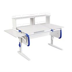 Парта ДЭМИ СУТ-25-02Д2  WHITE DOUBLE с раздельной столешницей, боковой и двумя задними двухярусными приставками (Цвет столешницы:Белый, Цвет боковин:Синий, Цвет ножек стола:Белый) - фото 21726