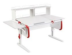 Парта ДЭМИ СУТ-25-02Д2  WHITE DOUBLE с раздельной столешницей, боковой и двумя задними двухярусными приставками (Цвет столешницы:Белый, Цвет боковин:Красный, Цвет ножек стола:Белый) - фото 21737