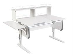 Парта ДЭМИ СУТ-25-02Д2  WHITE DOUBLE с раздельной столешницей, боковой и двумя задними двухярусными приставками (Цвет столешницы:Белый, Цвет боковин:Серый, Цвет ножек стола:Белый) - фото 21749