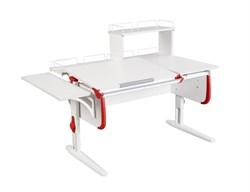 Парта ДЭМИ СУТ 25-02Д WHITE DOUBLE с раздельной столешницей, боковой, задней двухярусной и одной одноярусной приставкой (Цвет столешницы:Белый, Цвет боковин:Красный, Цвет ножек стола:Белый) - фото 21766