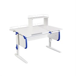 Парта ДЭМИ СУТ-25-01Д  WHITE DOUBLE с раздельной столешницей, задней двухярусной и одной одноярусной приставкой (Цвет столешницы:Белый, Цвет боковин:Синий, Цвет ножек стола:Белый) - фото 21784