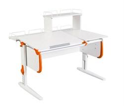 Парта ДЭМИ СУТ-25-01Д  WHITE DOUBLE с раздельной столешницей, задней двухярусной и одной одноярусной приставкой (Цвет столешницы:Белый, Цвет боковин:Оранжевый, Цвет ножек стола:Белый) - фото 21789