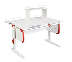 Парта ДЭМИ СУТ-25-01Д  WHITE DOUBLE с раздельной столешницей, задней двухярусной и одной одноярусной приставкой (Цвет столешницы:Белый, Цвет боковин:Красный, Цвет ножек стола:Белый) - фото 21795