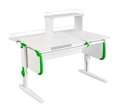 Парта ДЭМИ СУТ-25-01Д  WHITE DOUBLE с раздельной столешницей, задней двухярусной и одной одноярусной приставкой (Цвет столешницы:Белый, Цвет боковин:Зеленый, Цвет ножек стола:Белый) - фото 21801