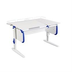 Парта ДЭМИ СУТ-25-01 WHITE DOUBLE с раздельной столешницей и двумя задними приставками (Цвет столешницы:Белый, Цвет боковин:Синий, Цвет ножек стола:Белый) - фото 21813