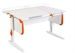 Парта ДЭМИ СУТ-25-01 WHITE DOUBLE с раздельной столешницей и двумя задними приставками (Цвет столешницы:Белый, Цвет боковин:Оранжевый, Цвет ножек стола:Белый) - фото 21818