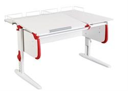 Парта ДЭМИ СУТ-25-01 WHITE DOUBLE с раздельной столешницей и двумя задними приставками (Цвет столешницы:Белый, Цвет боковин:Красный, Цвет ножек стола:Белый) - фото 21824