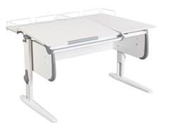 Парта ДЭМИ СУТ-25-01 WHITE DOUBLE с раздельной столешницей и двумя задними приставками (Цвет столешницы:Белый, Цвет боковин:Серый, Цвет ножек стола:Белый) - фото 21836