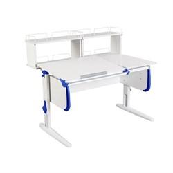 Парта ДЭМИ СУТ-25-01Д2  WHITE DOUBLE с раздельной столешницей и двумя задними двухярусными приставками (Цвет столешницы:Белый, Цвет боковин:Синий, Цвет ножек стола:Белый) - фото 21842