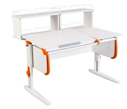 Парта ДЭМИ СУТ-25-01Д2  WHITE DOUBLE с раздельной столешницей и двумя задними двухярусными приставками (Цвет столешницы:Белый, Цвет боковин:Оранжевый, Цвет ножек стола:Белый) - фото 21847