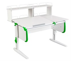 Парта ДЭМИ СУТ-25-01Д2  WHITE DOUBLE с раздельной столешницей и двумя задними двухярусными приставками (Цвет столешницы:Белый, Цвет боковин:Зеленый, Цвет ножек стола:Белый) - фото 21859