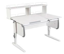 Парта ДЭМИ СУТ-25-01Д2  WHITE DOUBLE с раздельной столешницей и двумя задними двухярусными приставками (Цвет столешницы:Белый, Цвет боковин:Серый, Цвет ножек стола:Белый) - фото 21865