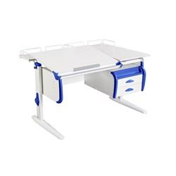 Парта ДЭМИ СУТ-25-04 WHITE DOUBLE с раздельной столешницей, двумя задними приставками и подвесной тумбой (Цвет столешницы:Белый, Цвет боковин:Синий, Цвет ножек стола:Белый) - фото 21871