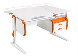 Парта ДЭМИ СУТ-25-04 WHITE DOUBLE с раздельной столешницей, двумя задними приставками и подвесной тумбой (Цвет столешницы:Белый, Цвет боковин:Оранжевый, Цвет ножек стола:Белый) - фото 21876