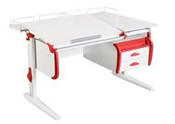 Парта ДЭМИ СУТ-25-04 WHITE DOUBLE с раздельной столешницей, двумя задними приставками и подвесной тумбой (Цвет столешницы:Белый, Цвет боковин:Красный, Цвет ножек стола:Белый) - фото 21882