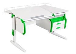 Парта ДЭМИ СУТ-25-04 WHITE DOUBLE с раздельной столешницей, двумя задними приставками и подвесной тумбой (Цвет столешницы:Белый, Цвет боковин:Зеленый, Цвет ножек стола:Белый) - фото 21888