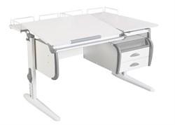 Парта ДЭМИ СУТ-25-04 WHITE DOUBLE с раздельной столешницей, двумя задними приставками и подвесной тумбой (Цвет столешницы:Белый, Цвет боковин:Серый, Цвет ножек стола:Белый) - фото 21894