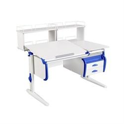 Парта ДЭМИ СУТ-25-04Д2  WHITE DOUBLE с раздельной столешницей, двумя задними двухъярусными приставками и подвесной тумбой (Цвет столешницы:Белый, Цвет боковин:Синий, Цвет ножек стола:Белый) - фото 21900