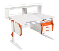 Парта ДЭМИ СУТ-25-04Д2  WHITE DOUBLE с раздельной столешницей, двумя задними двухъярусными приставками и подвесной тумбой (Цвет столешницы:Белый, Цвет боковин:Оранжевый, Цвет ножек стола:Белый) - фото 21905