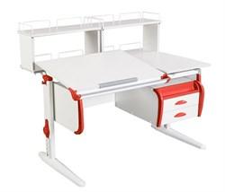 Парта ДЭМИ СУТ-25-04Д2  WHITE DOUBLE с раздельной столешницей, двумя задними двухъярусными приставками и подвесной тумбой (Цвет столешницы:Белый, Цвет боковин:Красный, Цвет ножек стола:Белый) - фото 21911