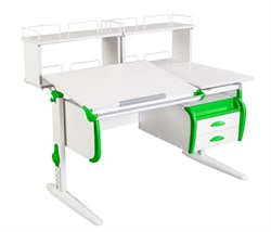 Парта ДЭМИ СУТ-25-04Д2  WHITE DOUBLE с раздельной столешницей, двумя задними двухъярусными приставками и подвесной тумбой (Цвет столешницы:Белый, Цвет боковин:Зеленый, Цвет ножек стола:Белый) - фото 21917