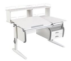 Парта ДЭМИ СУТ-25-04Д2  WHITE DOUBLE с раздельной столешницей, двумя задними двухъярусными приставками и подвесной тумбой (Цвет столешницы:Белый, Цвет боковин:Серый, Цвет ножек стола:Белый) - фото 21923