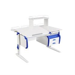 Парта ДЭМИ СУТ-25-04Д  WHITE DOUBLE с раздельной столешницей, задней двухярусной, одной одноярусной приставкой и подвесной тумбой (Цвет столешницы:Белый, Цвет боковин:Синий, Цвет ножек стола:Белый) - фото 21929