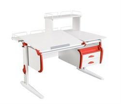 Парта ДЭМИ СУТ-25-04Д  WHITE DOUBLE с раздельной столешницей, задней двухярусной, одной одноярусной приставкой и подвесной тумбой (Цвет столешницы:Белый, Цвет боковин:Красный, Цвет ножек стола:Белый) - фото 21940