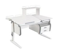 Парта ДЭМИ СУТ-25-04Д  WHITE DOUBLE с раздельной столешницей, задней двухярусной, одной одноярусной приставкой и подвесной тумбой (Цвет столешницы:Белый, Цвет боковин:Серый, Цвет ножек стола:Белый) - фото 21952
