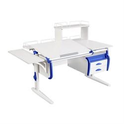 Парта ДЭМИ СУТ-25-05Д  WHITE DOUBLE с раздельной столешницей, боковой, задней двухъярусной, одной одноярусной приставкой и подвесной тумбой (Цвет столешницы:Белый, Цвет боковин:Синий, Цвет ножек стола:Белый) - фото 21958