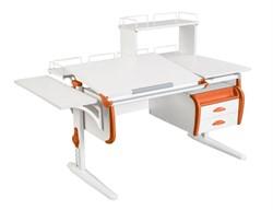 Парта ДЭМИ СУТ-25-05Д  WHITE DOUBLE с раздельной столешницей, боковой, задней двухъярусной, одной одноярусной приставкой и подвесной тумбой (Цвет столешницы:Белый, Цвет боковин:Оранжевый, Цвет ножек стола:Белый) - фото 21963