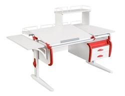 Парта ДЭМИ СУТ-25-05Д  WHITE DOUBLE с раздельной столешницей, боковой, задней двухъярусной, одной одноярусной приставкой и подвесной тумбой (Цвет столешницы:Белый, Цвет боковин:Красный, Цвет ножек стола:Белый) - фото 21969