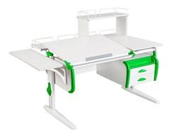 Парта ДЭМИ СУТ-25-05Д  WHITE DOUBLE с раздельной столешницей, боковой, задней двухъярусной, одной одноярусной приставкой и подвесной тумбой (Цвет столешницы:Белый, Цвет боковин:Зеленый, Цвет ножек стола:Белый) - фото 21975