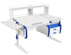 Парта ДЭМИ СУТ 25-05Д2  WHITE DOUBLE с раздельной столешницей, боковой приставкой, двумя задними двухъярусными приставками и подвесной тумбой (Цвет столешницы:Белый, Цвет боковин:Синий, Цвет ножек стола:Белый) - фото 21987