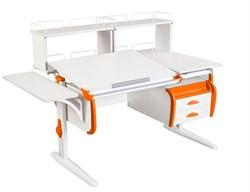 Парта ДЭМИ СУТ 25-05Д2  WHITE DOUBLE с раздельной столешницей, боковой приставкой, двумя задними двухъярусными приставками и подвесной тумбой (Цвет столешницы:Белый, Цвет боковин:Оранжевый, Цвет ножек стола:Белый) - фото 21992