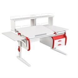 Парта ДЭМИ СУТ 25-05Д2  WHITE DOUBLE с раздельной столешницей, боковой приставкой, двумя задними двухъярусными приставками и подвесной тумбой (Цвет столешницы:Белый, Цвет боковин:Красный, Цвет ножек стола:Белый) - фото 21998