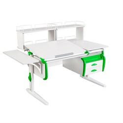 Парта ДЭМИ СУТ 25-05Д2  WHITE DOUBLE с раздельной столешницей, боковой приставкой, двумя задними двухъярусными приставками и подвесной тумбой (Цвет столешницы:Белый, Цвет боковин:Зеленый, Цвет ножек стола:Белый) - фото 22004