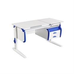 Парта ДЭМИ СУТ-25-03 WHITE DOUBLE с раздельной столешницей и подвесной тумбой (Цвет столешницы:Белый, Цвет боковин:Синий, Цвет ножек стола:Белый) - фото 22016