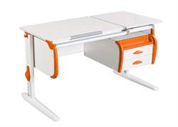 Парта ДЭМИ СУТ-25-03 WHITE DOUBLE с раздельной столешницей и подвесной тумбой (Цвет столешницы:Белый, Цвет боковин:Оранжевый, Цвет ножек стола:Белый) - фото 22021