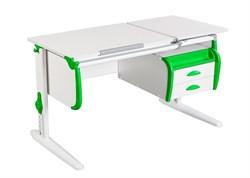 Парта ДЭМИ СУТ-25-03 WHITE DOUBLE с раздельной столешницей и подвесной тумбой (Цвет столешницы:Белый, Цвет боковин:Зеленый, Цвет ножек стола:Белый) - фото 22033