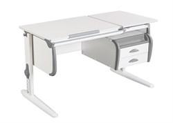 Парта ДЭМИ СУТ-25-03 WHITE DOUBLE с раздельной столешницей и подвесной тумбой (Цвет столешницы:Белый, Цвет боковин:Серый, Цвет ножек стола:Белый) - фото 22039