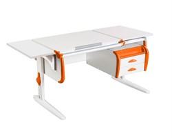 Парта ДЭМИ СУТ 25-03К  WHITE DOUBLE с раздельной столешницей, боковой приставкой и подвесной тумбой (Цвет столешницы:Белый, Цвет боковин:Оранжевый, Цвет ножек стола:Белый) - фото 22050