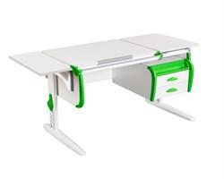 Парта ДЭМИ СУТ 25-03К  WHITE DOUBLE с раздельной столешницей, боковой приставкой и подвесной тумбой (Цвет столешницы:Белый, Цвет боковин:Зеленый, Цвет ножек стола:Белый) - фото 22062