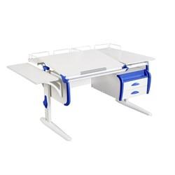 Парта ДЭМИ СУТ-25-05 WHITE DOUBLE с раздельной столешницей, подвесной тумбой, боковой и двумя задними приставками (Цвет столешницы:Белый, Цвет боковин:Синий, Цвет ножек стола:Белый) - фото 22074