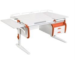 Парта ДЭМИ СУТ-25-05 WHITE DOUBLE с раздельной столешницей, подвесной тумбой, боковой и двумя задними приставками (Цвет столешницы:Белый, Цвет боковин:Оранжевый, Цвет ножек стола:Белый) - фото 22079