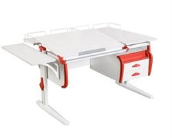 Парта ДЭМИ СУТ-25-05 WHITE DOUBLE с раздельной столешницей, подвесной тумбой, боковой и двумя задними приставками (Цвет столешницы:Белый, Цвет боковин:Красный, Цвет ножек стола:Белый) - фото 22085
